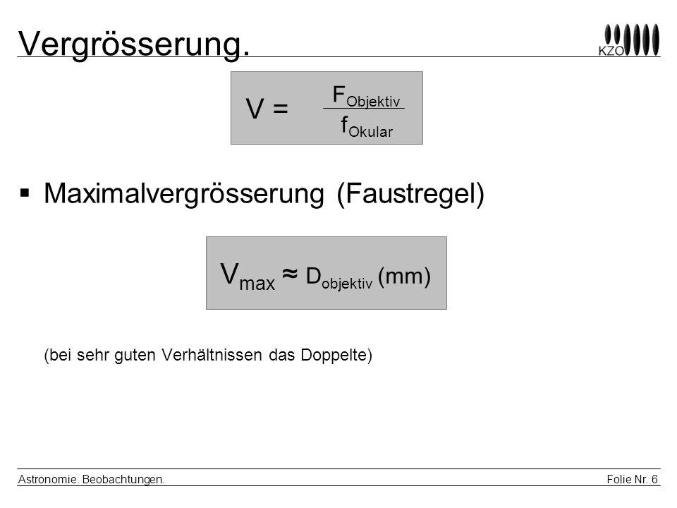 Vergrösserung. V = FObjektiv. fOkular. Maximalvergrösserung (Faustregel) (bei sehr guten Verhältnissen das Doppelte)
