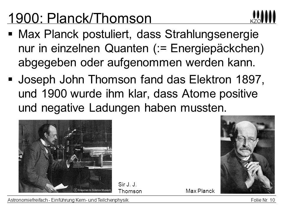 1900: Planck/Thomson