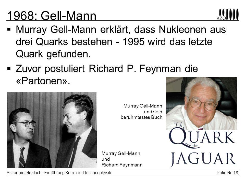 1968: Gell-Mann Murray Gell-Mann erklärt, dass Nukleonen aus drei Quarks bestehen - 1995 wird das letzte Quark gefunden.