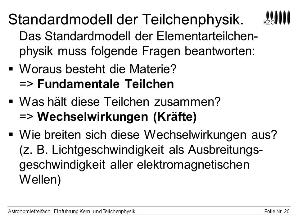 Standardmodell der Teilchenphysik.
