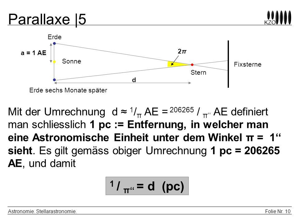 Parallaxe |5 1 / π'' = d (pc)