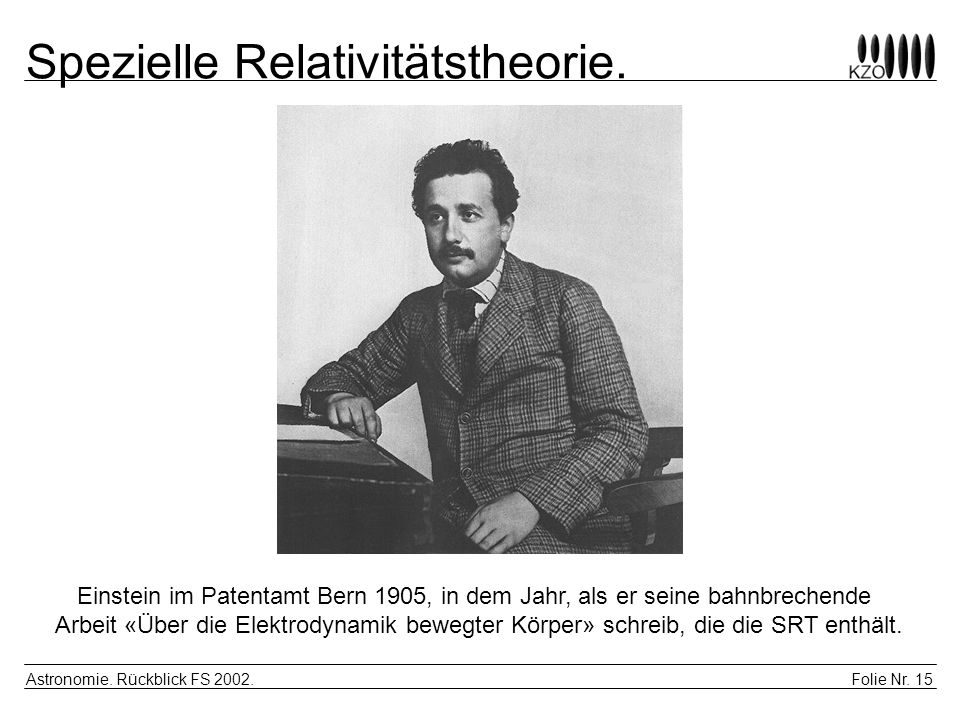 Spezielle Relativitätstheorie.