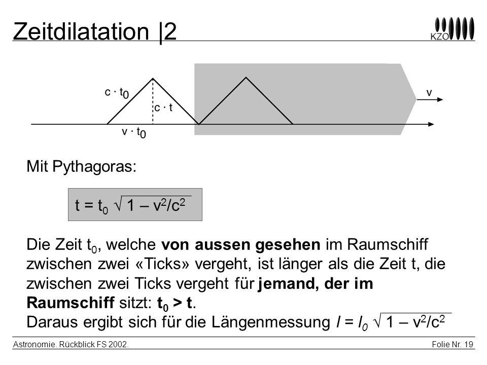Zeitdilatation |2 Mit Pythagoras: t = t0 √ 1 – v2/c2