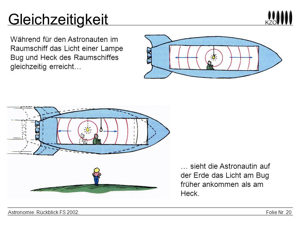 Gleichzeitigkeit Während für den Astronauten im Raumschiff das Licht einer Lampe Bug und Heck des Raumschiffes gleichzeitig erreicht…
