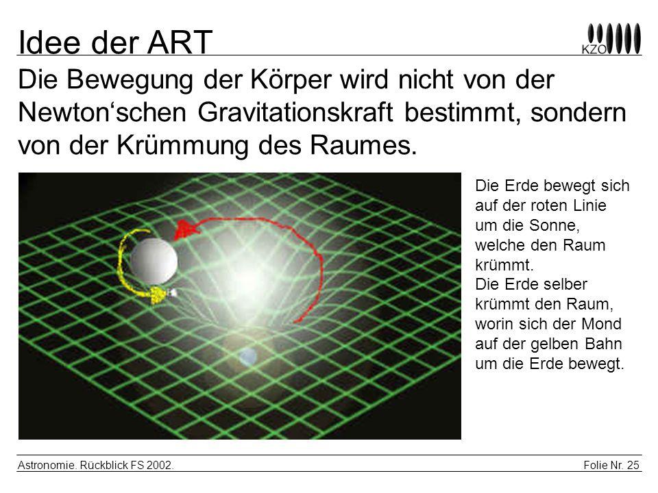 Idee der ART Die Bewegung der Körper wird nicht von der Newton'schen Gravitationskraft bestimmt, sondern von der Krümmung des Raumes.
