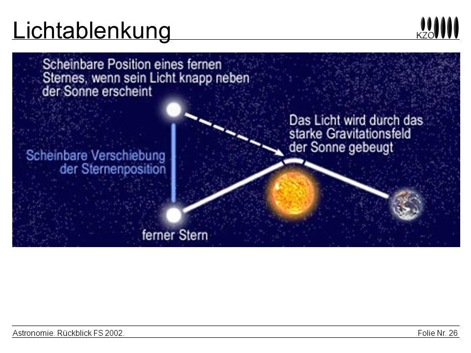 Lichtablenkung Astronomie. Rückblick FS 2002.