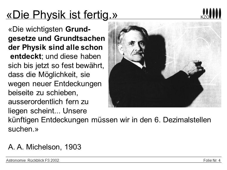 «Die Physik ist fertig.»
