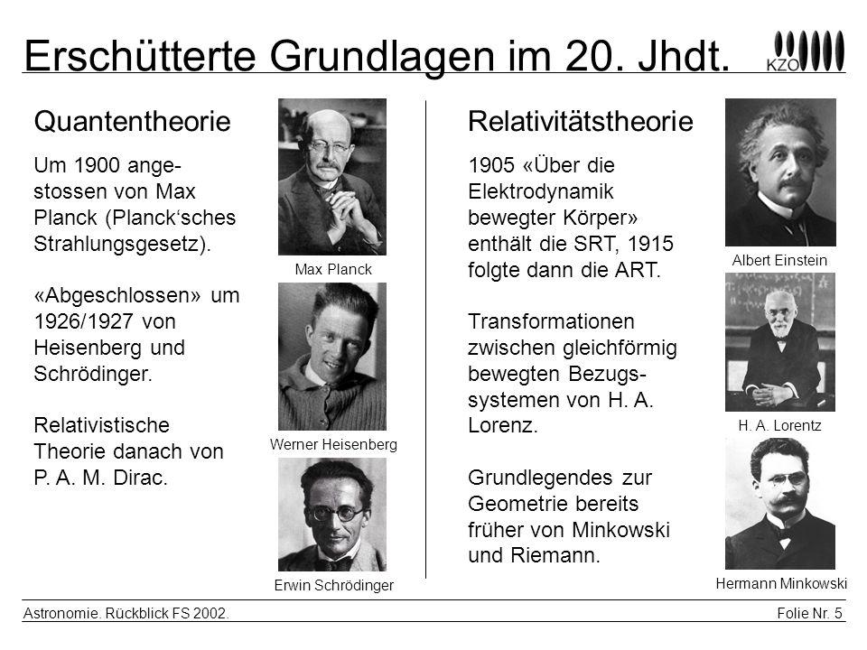 Erschütterte Grundlagen im 20. Jhdt.