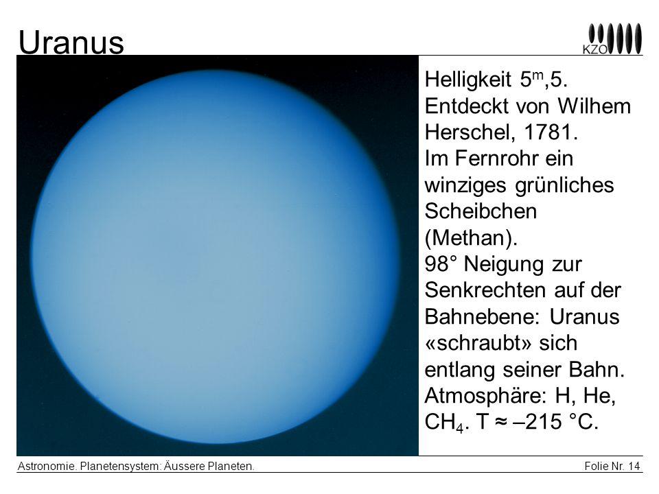 Uranus Helligkeit 5m,5. Entdeckt von Wilhem Herschel, 1781.