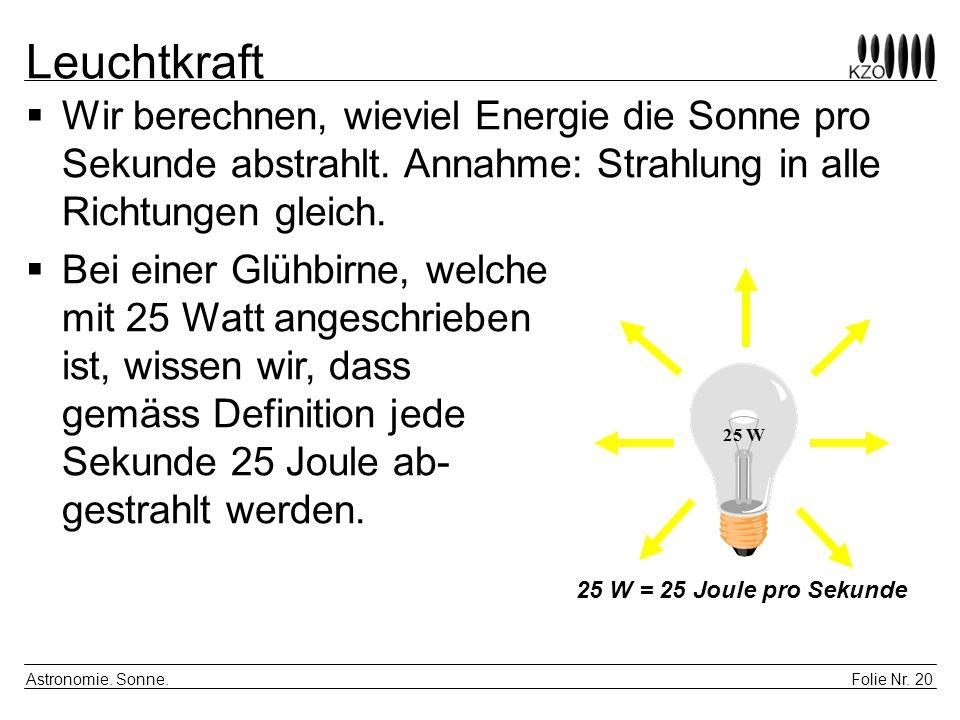 Leuchtkraft Wir berechnen, wieviel Energie die Sonne pro Sekunde abstrahlt. Annahme: Strahlung in alle Richtungen gleich.
