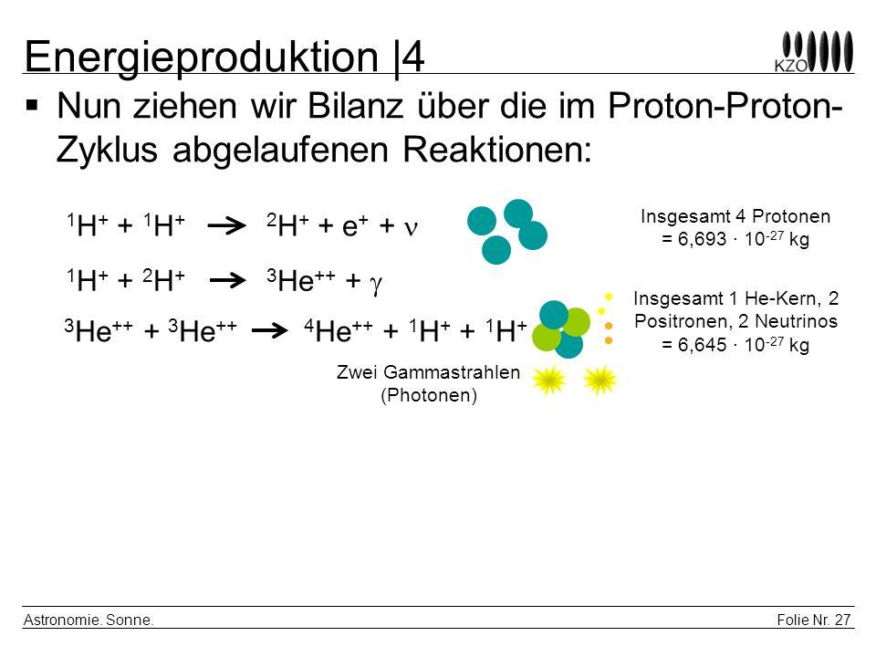 Energieproduktion |4 Nun ziehen wir Bilanz über die im Proton-Proton-Zyklus abgelaufenen Reaktionen: