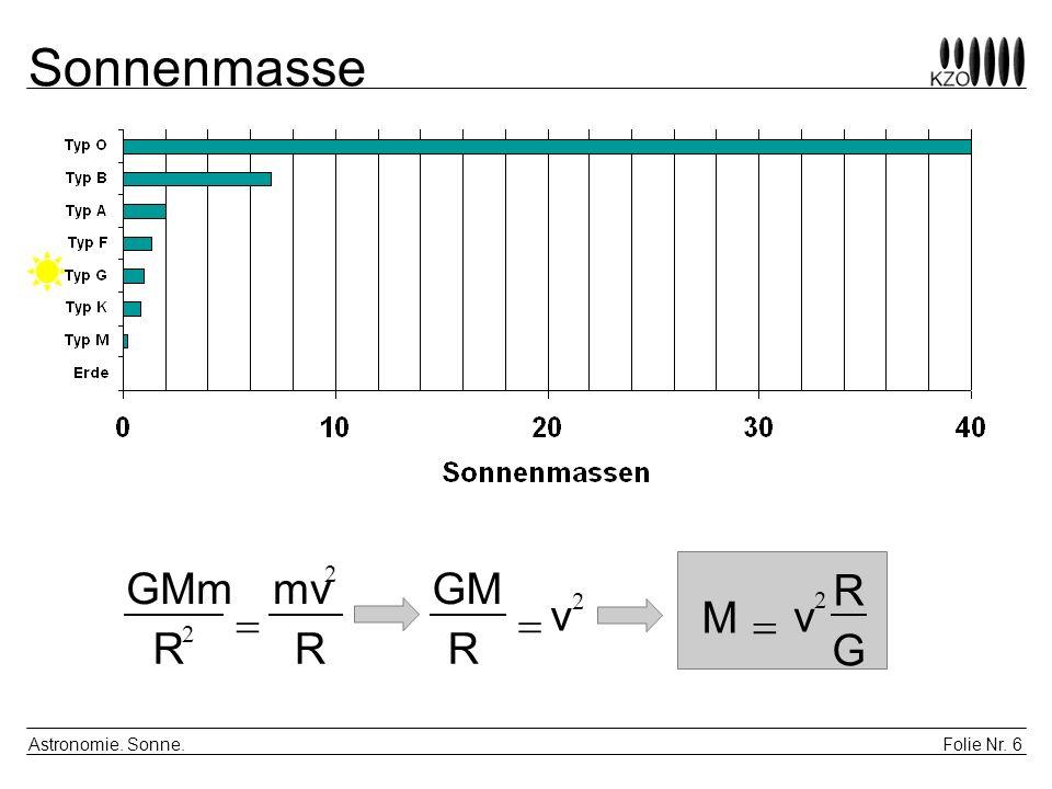 Sonnenmasse GMm mv 2 GM R v 2 v 2 = = M = R 2 R R G Astronomie. Sonne.