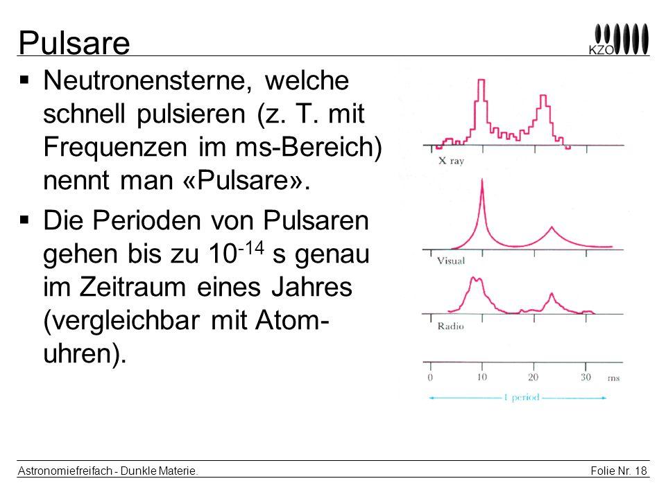 Pulsare Neutronensterne, welche schnell pulsieren (z. T. mit Frequenzen im ms-Bereich) nennt man «Pulsare».