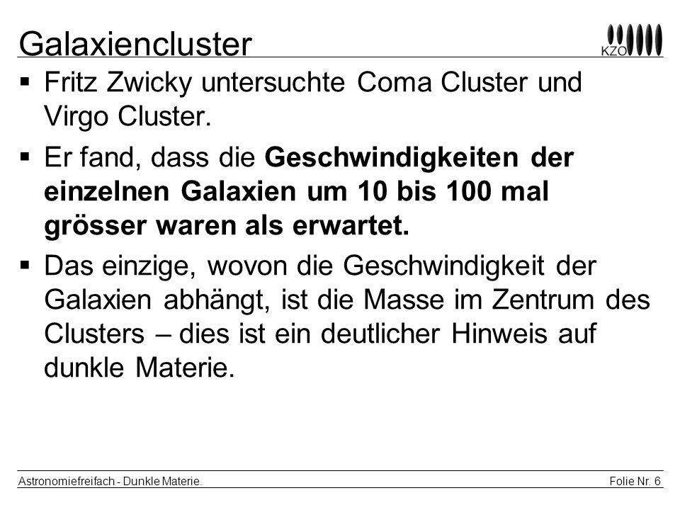 Galaxiencluster Fritz Zwicky untersuchte Coma Cluster und Virgo Cluster.