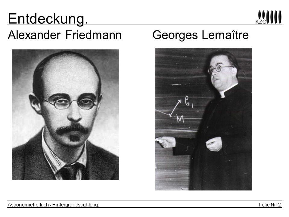 Entdeckung. Alexander Friedmann Georges Lemaître