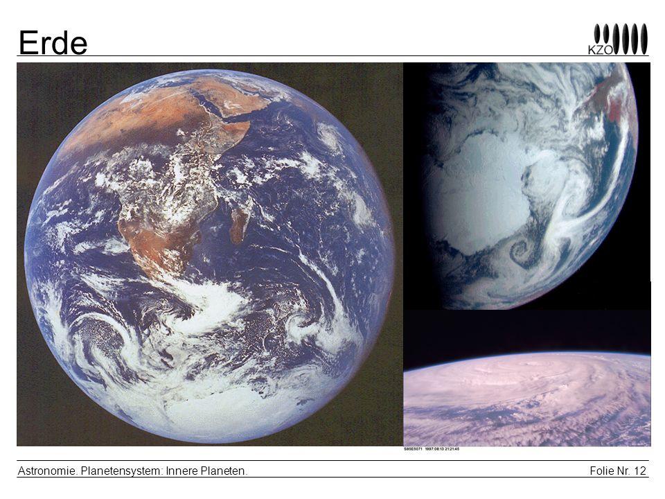 Erde Astronomie. Planetensystem: Innere Planeten.