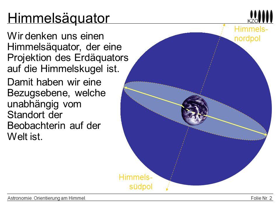 Himmelsäquator Himmels- nordpol. Wir denken uns einen Himmelsäquator, der eine Projektion des Erdäquators auf die Himmelskugel ist.