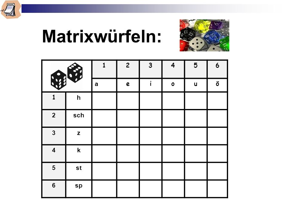 Matrixwürfeln: 1 2 3 4 5 6 a e i o u ö h sch z k st sp