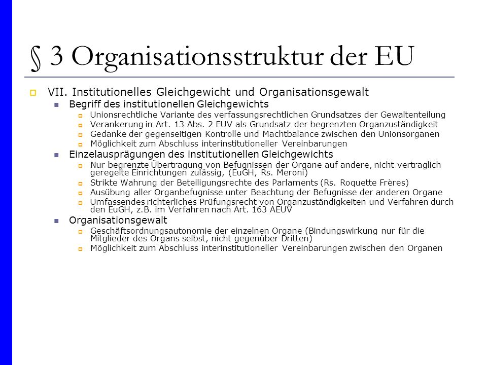 § 3 Organisationsstruktur der EU