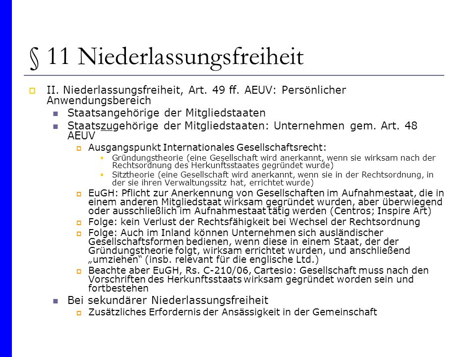 § 11 Niederlassungsfreiheit