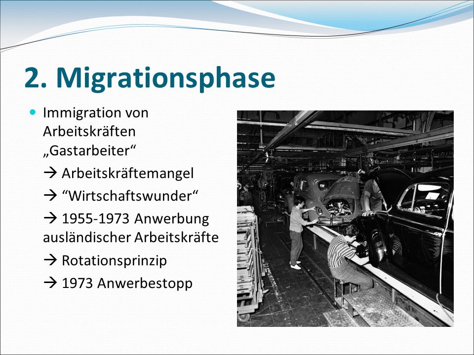 """2. Migrationsphase Immigration von Arbeitskräften """"Gastarbeiter"""