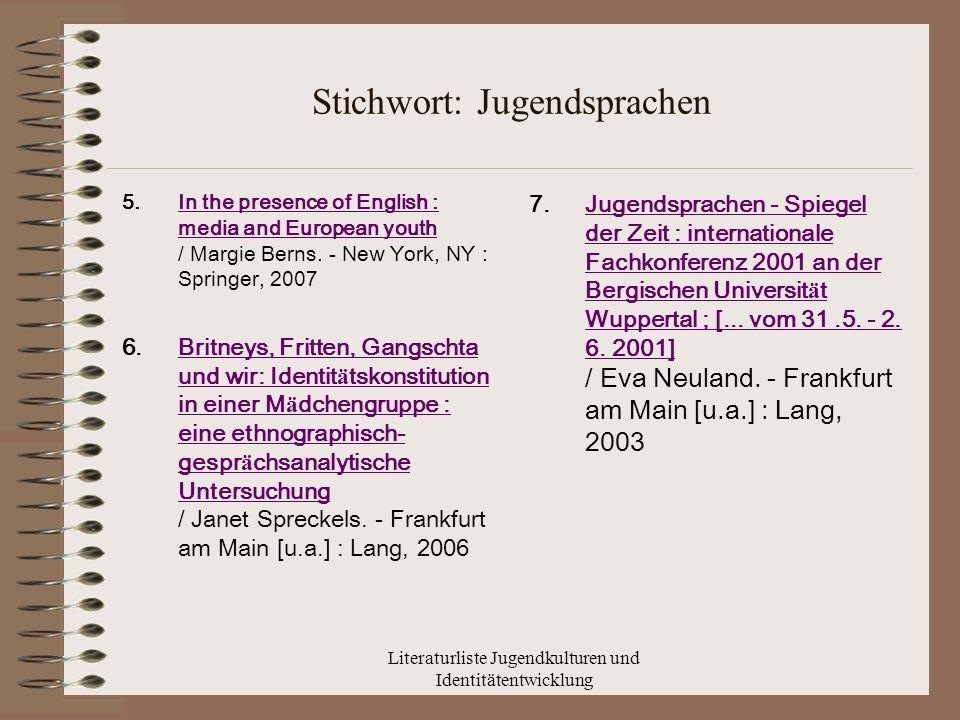 Stichwort: Jugendsprachen