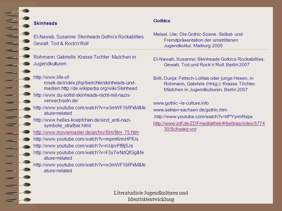 Literaturliste Jugendkulturen und Identitätentwicklung