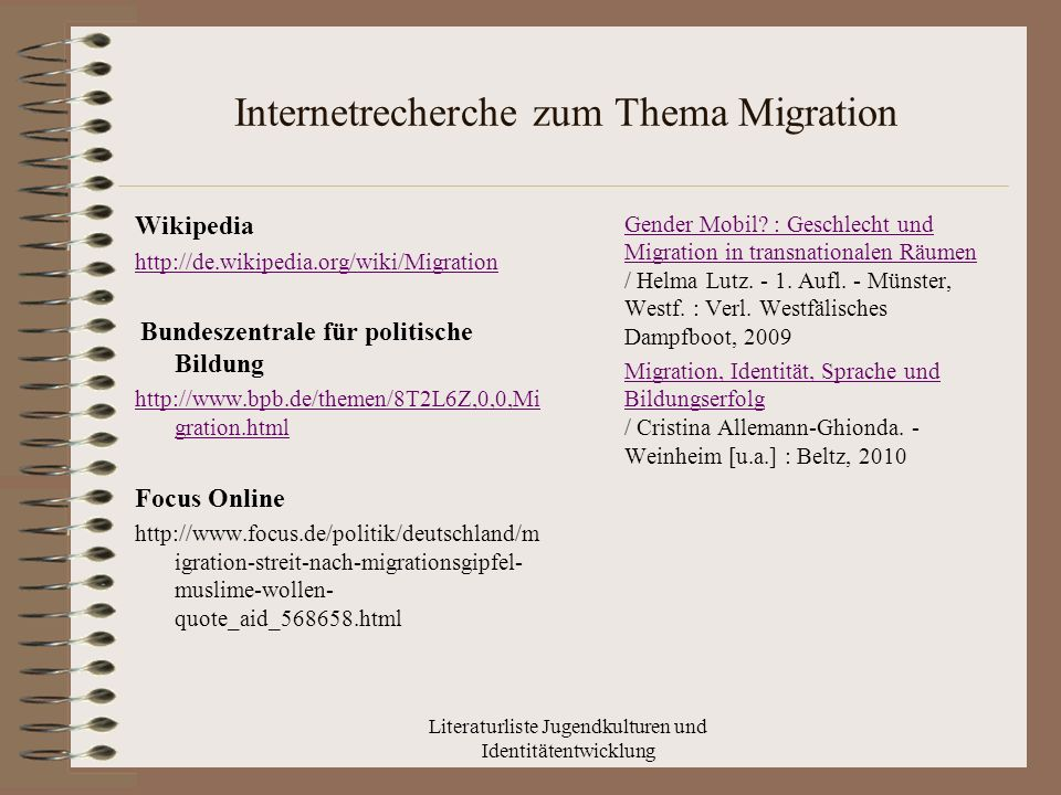 Internetrecherche zum Thema Migration