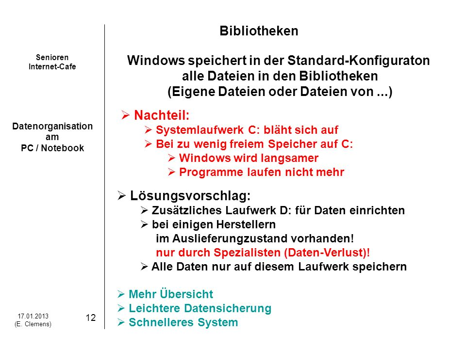 Windows speichert in der Standard-Konfiguraton