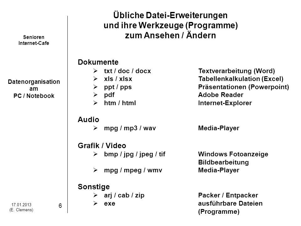 Übliche Datei-Erweiterungen und ihre Werkzeuge (Programme)