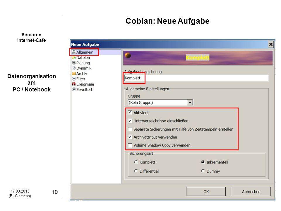 Cobian: Neue Aufgabe