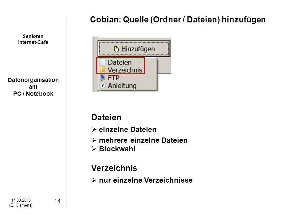 Cobian: Quelle (Ordner / Dateien) hinzufügen
