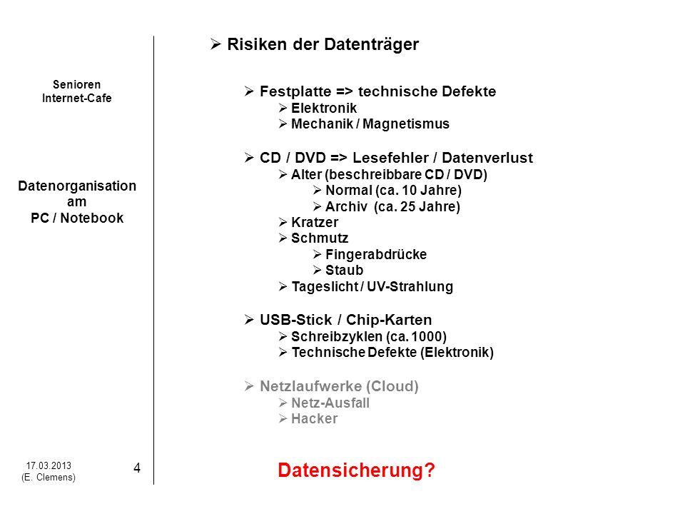 Datensicherung Risiken der Datenträger
