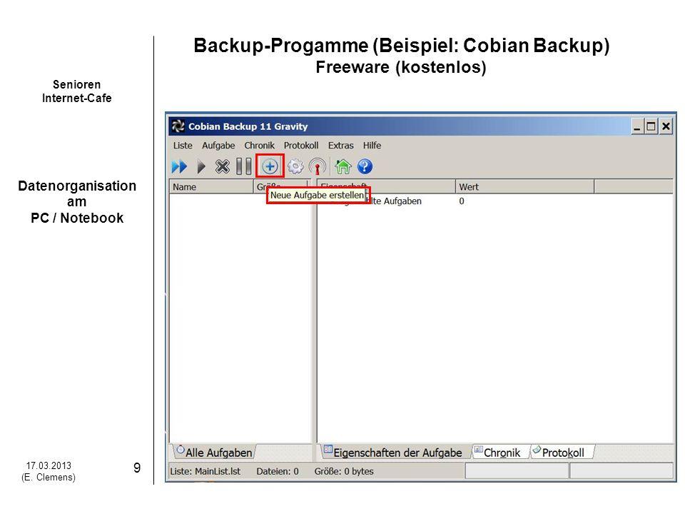 Backup-Progamme (Beispiel: Cobian Backup)