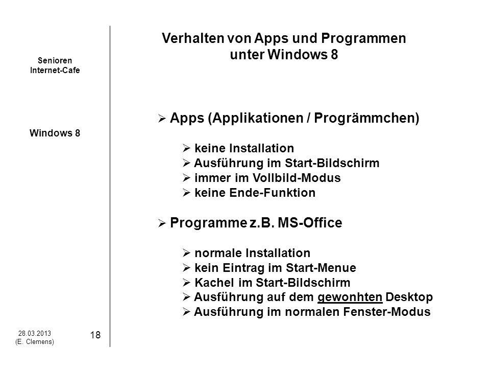 Verhalten von Apps und Programmen unter Windows 8