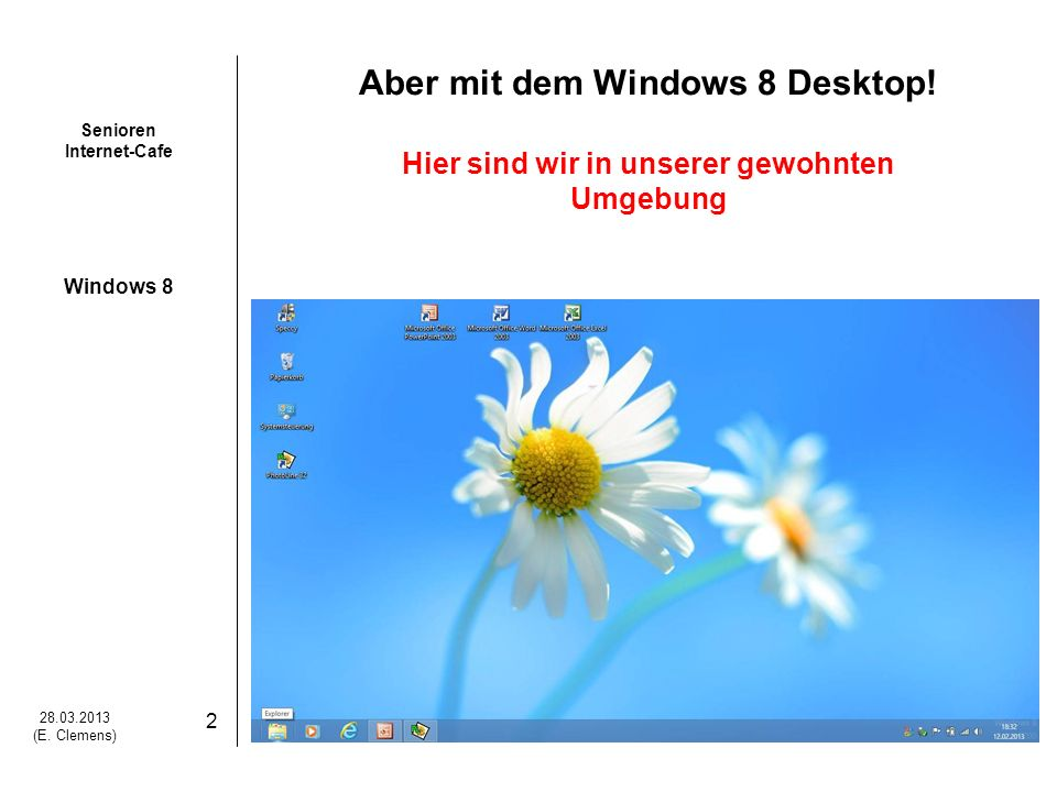 Aber mit dem Windows 8 Desktop! Hier sind wir in unserer gewohnten