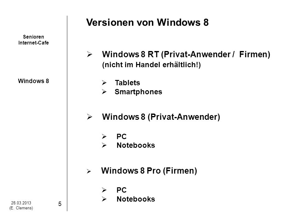 Versionen von Windows 8 Windows 8 RT (Privat-Anwender / Firmen)