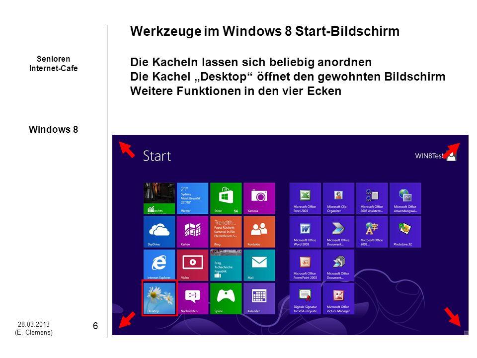 Werkzeuge im Windows 8 Start-Bildschirm