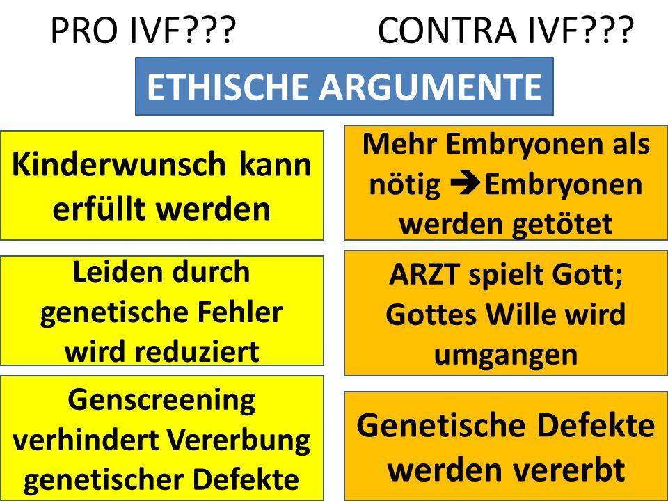 PRO IVF CONTRA IVF ETHISCHE ARGUMENTE