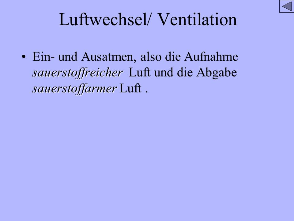 Luftwechsel/ Ventilation