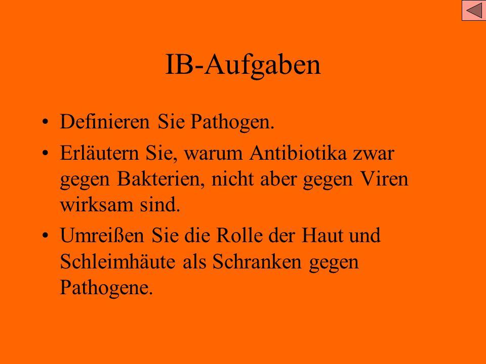IB-Aufgaben Definieren Sie Pathogen.