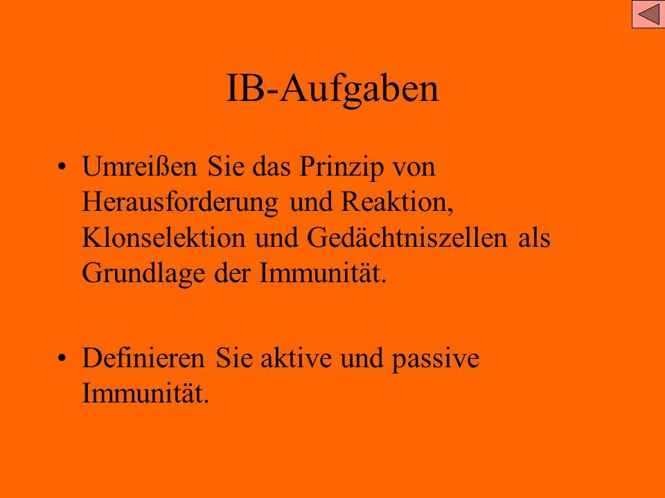 IB-Aufgaben Umreißen Sie das Prinzip von Herausforderung und Reaktion, Klonselektion und Gedächtniszellen als Grundlage der Immunität.