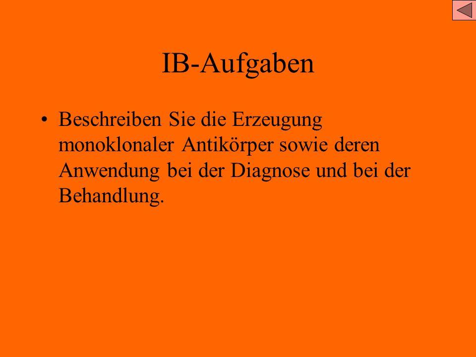 IB-Aufgaben Beschreiben Sie die Erzeugung monoklonaler Antikörper sowie deren Anwendung bei der Diagnose und bei der Behandlung.