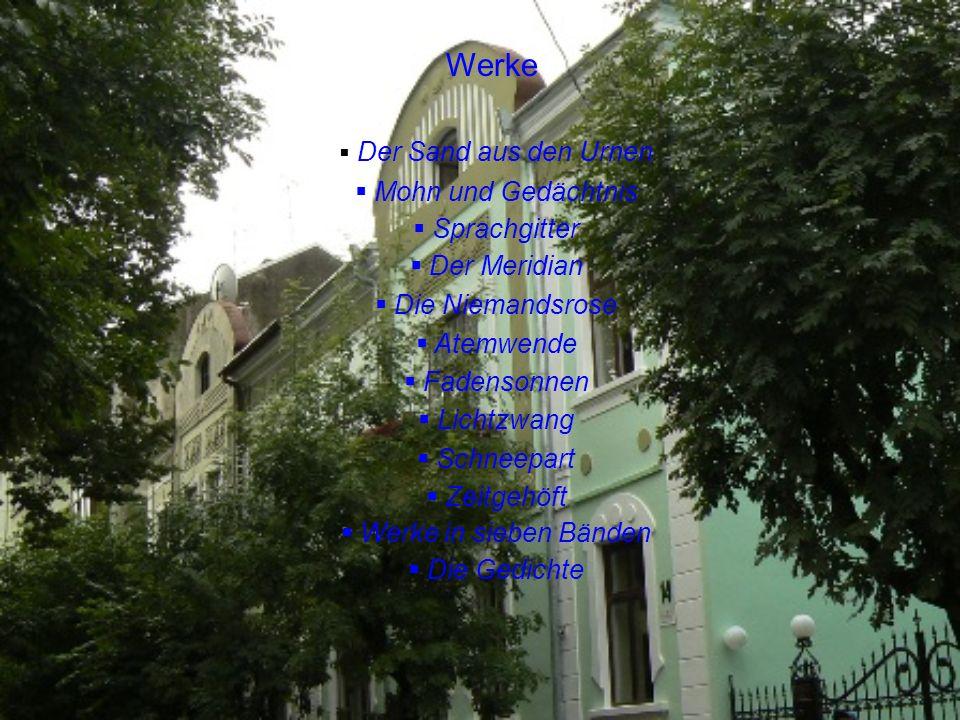 Werke Mohn und Gedächtnis Sprachgitter Der Meridian Die Niemandsrose