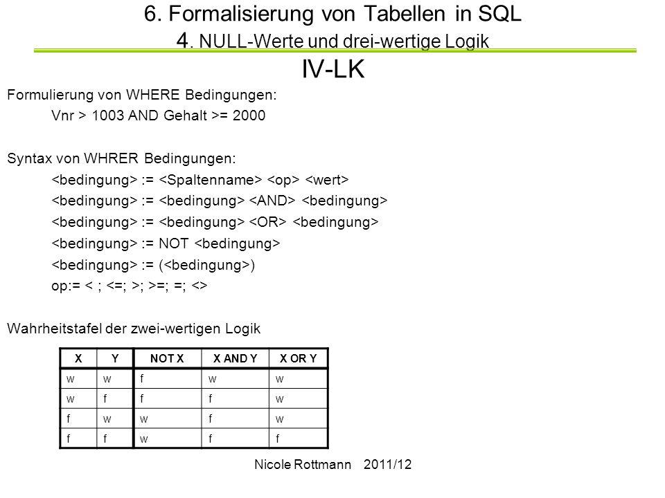6. Formalisierung von Tabellen in SQL 4