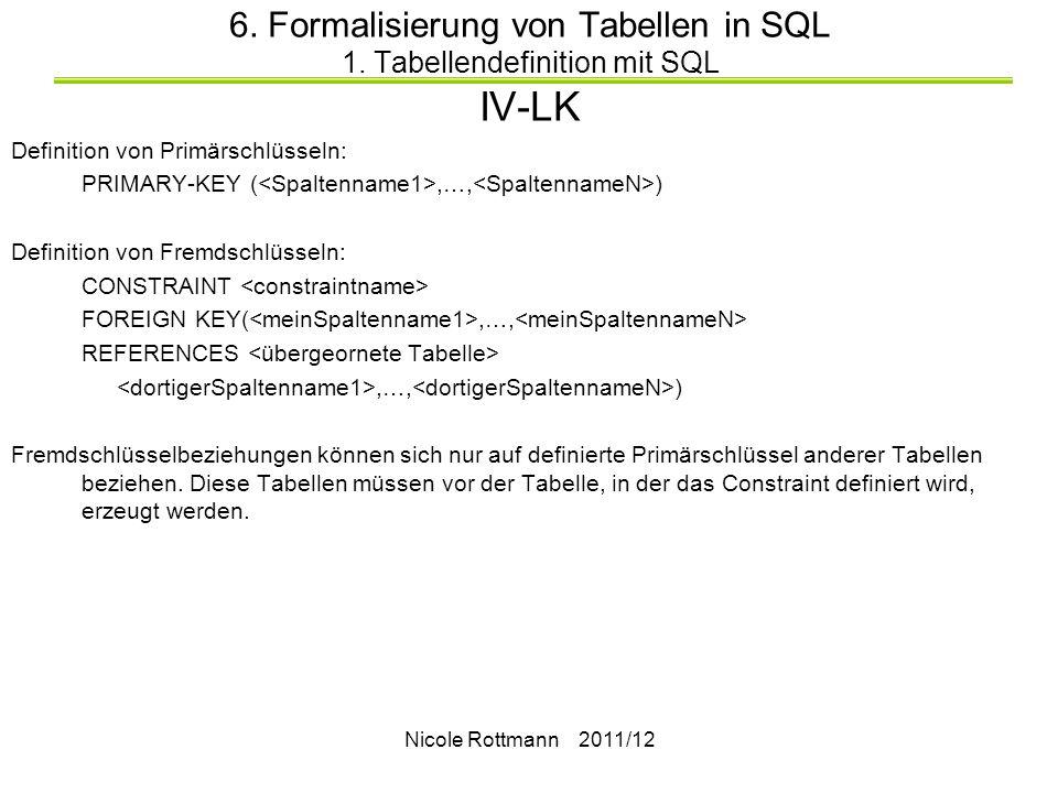 6. Formalisierung von Tabellen in SQL 1