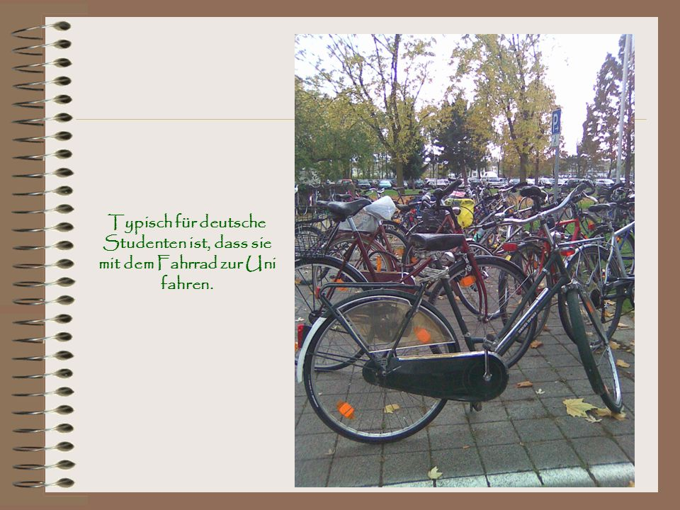 Typisch für deutsche Studenten ist, dass sie mit dem Fahrrad zur Uni fahren.