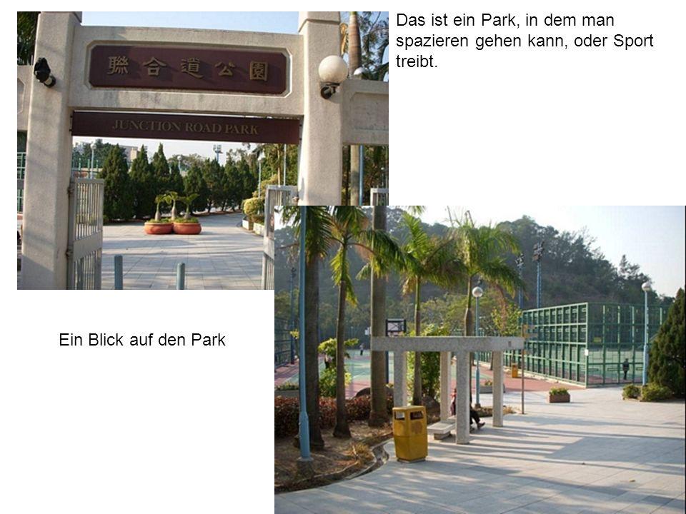 Das ist ein Park, in dem man spazieren gehen kann, oder Sport treibt.