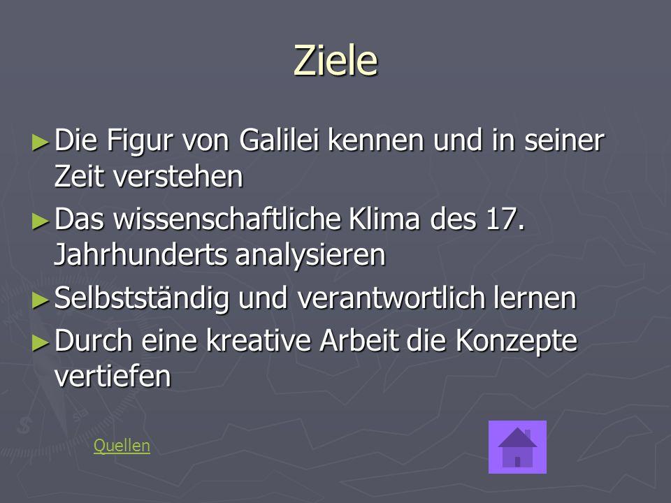 Ziele Die Figur von Galilei kennen und in seiner Zeit verstehen