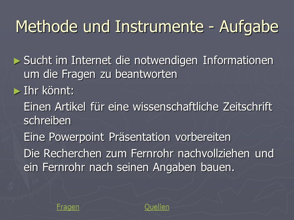 Methode und Instrumente - Aufgabe